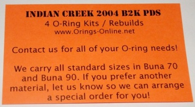 Indian Creek 2004 B2K PDS Marker O-ring Kit - 2 Rebuilds