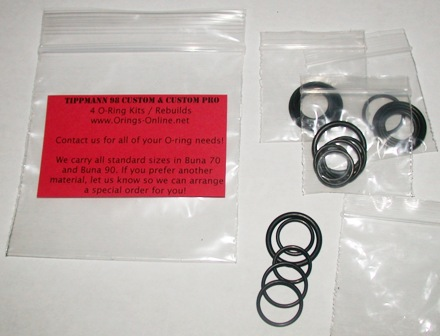 Tippmann 98 Custom / Custom Pro O-ring Kit - 4 Rebuilds