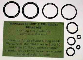 Tippmann Alpha Black / Bravo One Marker O-ring kit 4 rebuilds